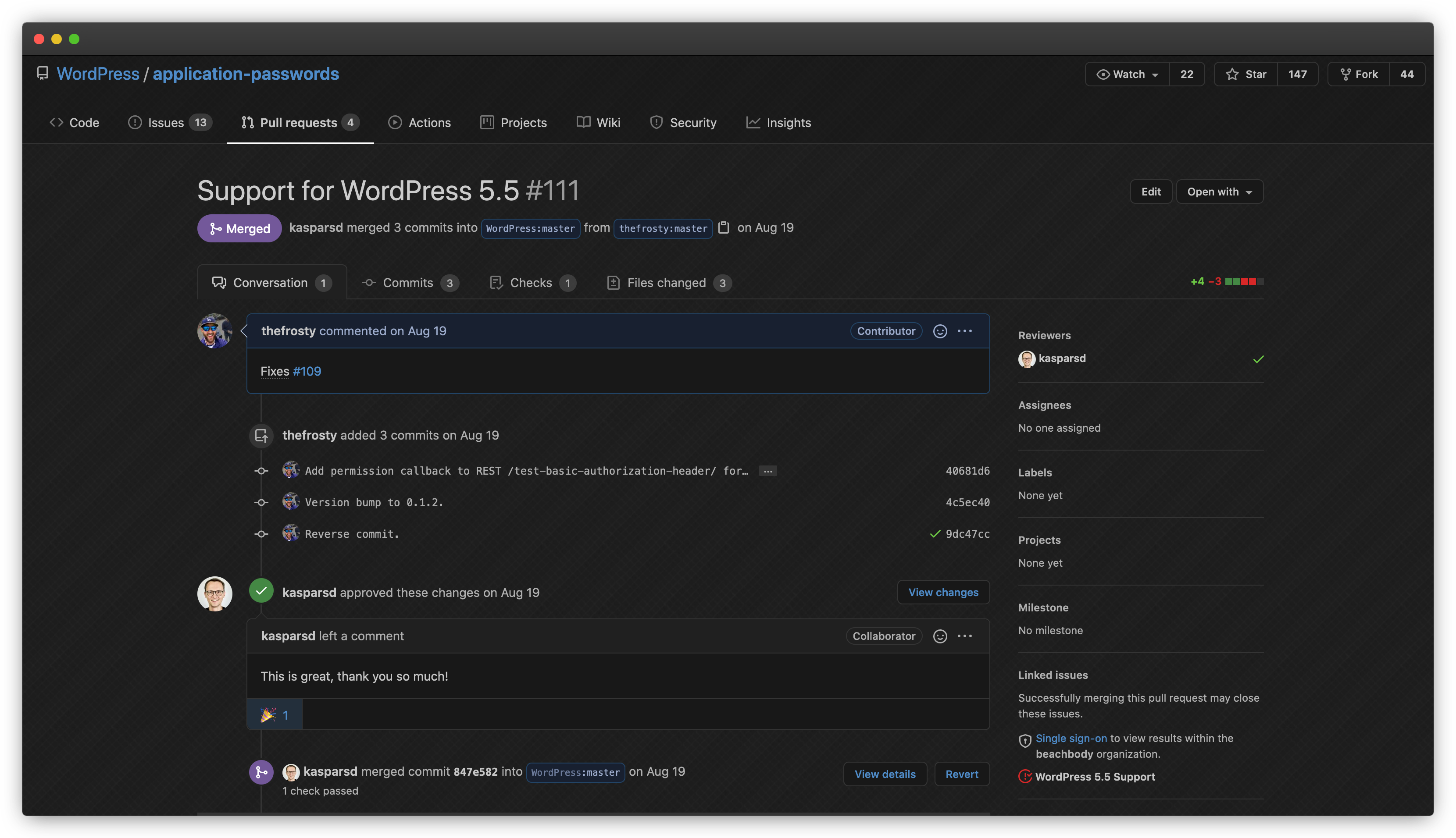 GitHub: Application Passwords Support for WordPress 5.5